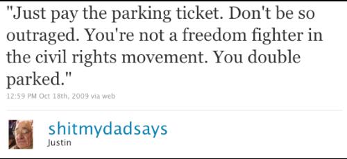 Só pague a multa de estacionamento. Não fique tão revoltado. Você não está lutando pelos direitos civis. Você parou em fila dupla.
